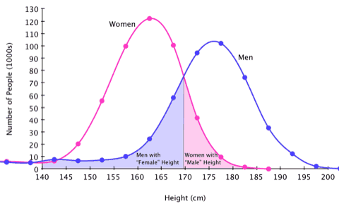 Graph showing the distribution of heights for each sex.